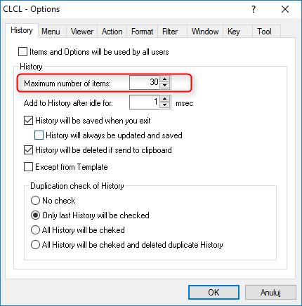 CLCL max history